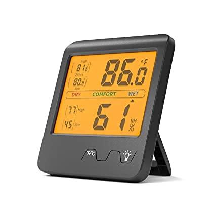 Higrómetro digital Termómetro interior Indicador de humedad Monitor de temperatura y humedad del hogar con luz de fondo (negro)