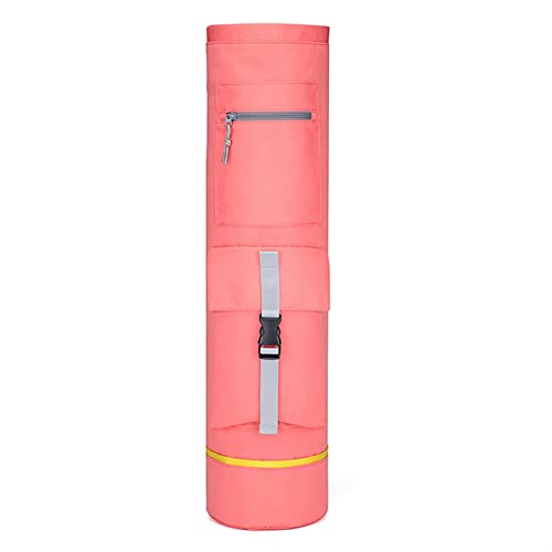 DHDHWL Bolsa para esterilla de yoga, bolsa de almacenamiento cilíndrica, con correas ajustables para el hombro, mochila plegable con asa y cremallera deportiva (color: rosa)