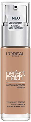 L'Oréal Paris Make up, Flüssige Foundation mit Hyaluron und Aloe Vera, Perfect Match Make-Up, Nr. 5.D/5.W Golden Sand, 30 ml