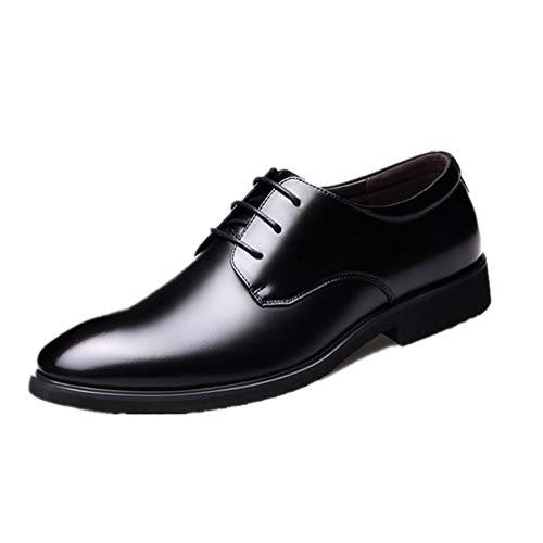 RINCO Negocio Oxford para los Hombres Zapatos Formales de Cordones Punta Redonda de Cuero Genuino Transpirable Casual Conjunto de Cuero Genuino Cómo`, negro, 40,5 EU