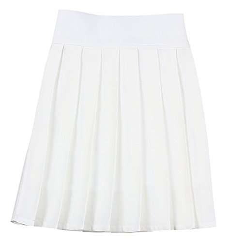 NAWONGSKY Women's High Waist Solid Plain Pleated School Uniform A-Line Skirt, White, Tag XL = US L