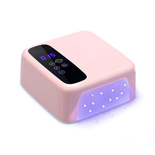 Anself 72W Smart Nail Lamp, Detachable Automatic Sensor Double Light Source with LCD Display Memory & Pause Timer Function,4 Timer Setting 36 Lights Beads for Gels Polishes Nails Beauty (Pink)