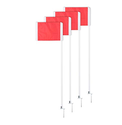 Champion Sports Spring Loaded Steel Base Soccer Corner Flags