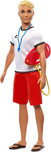 Ken Lifeguard Doll with Life Buoy, Whistle and Blonde Hair Wearing T-Shirt, Red Swim Trunks and Flip-Flops, Gift for 3 to 7 Year Old​​​