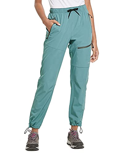 BALEAF Women's Hiking Cargo Pants Outdoor Lightweight Capris Water Resistant UPF 50 Zipper Pockets Pond Size L