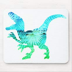 Mouse Pad Non-Slip Rubber Gaming Mouse Pad, Aqua & Green Palm Dinosaur Sticker Mouse Pad, Rectangle Mouse Pads for Computers Laptop 10'×12'