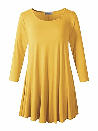 LARACE Women 3/4 Sleeve Tunic Top Loose Fit Flare T-Shirt(2X, Yellow)