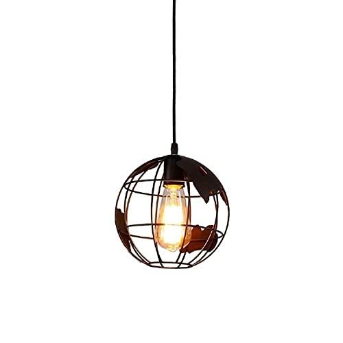 Accesorio de iluminación Mapa de globos de la Tierra Chandelier Industrial Vintage Hierro Fabricado Esfera de Forjada Barn Colgante Lámpara Negro Redondo Colgante Luz de Luz Ligero Creativo Loft