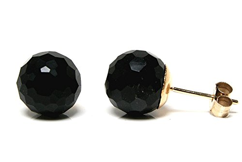 9ct Gold 8mm Black Onyx Stud earrings