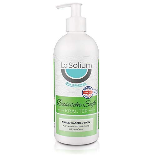 Basisches Duschgel mit ätherischen Ölen – 500 ml im praktischen Seifenspender. Basische Seife mit pH-Wert von 9,8 für Gesicht, Hände und Körper. Bio-Qualität – frei von künstlichen Zusatzstoffen.