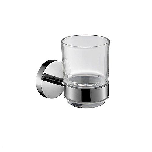 Lonfenner Ciondoli in metallo vetro dello spazzolino da denti spazzolino da denti del cilindretto in acciaio inox 304 porta Bicchiere rotondo in vetro trasparente cup