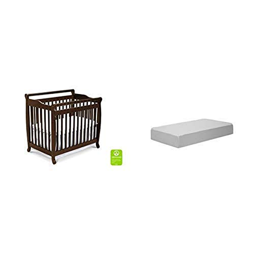 Davinci Emily 2 in 1 Convertible Mini Crib, Espresso with Complete Slumber Mini Crib Mattress