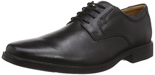 Clarks Men's Tilden Plain Derby, Schwarz (Black Leather), 43 EU