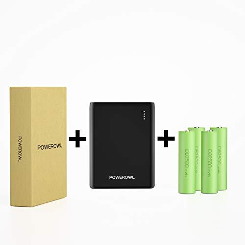 POWERWOL 2-en-1 18650 Cargador Portátil y Cargador de Batería, Batería Externa Powerbank de 10000mAh