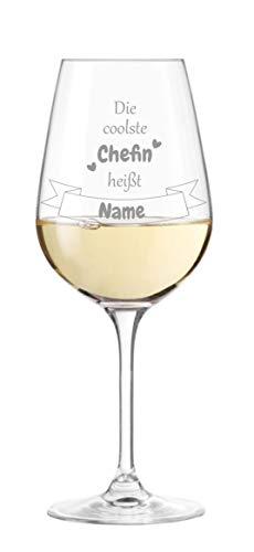KS Laserdesign Leonardo Weinglas mit Spruch '' die coolste Chefin heißt '' persönliche Gravur - Wunschname wählbar, Geschenkidee, Beste Chefin, Geburtstag