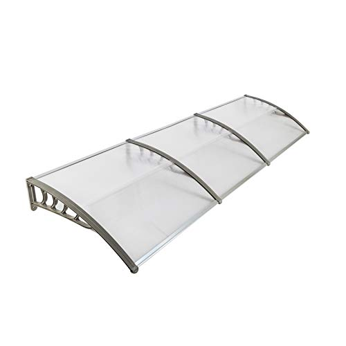 """40/80/120"""" Window Awning Overhead Door Polycarbonate Cover Front Door Outdoor Patio Canopy Cover UV Rain Snow Protection Hollow Sheet (120x40 Gray)"""