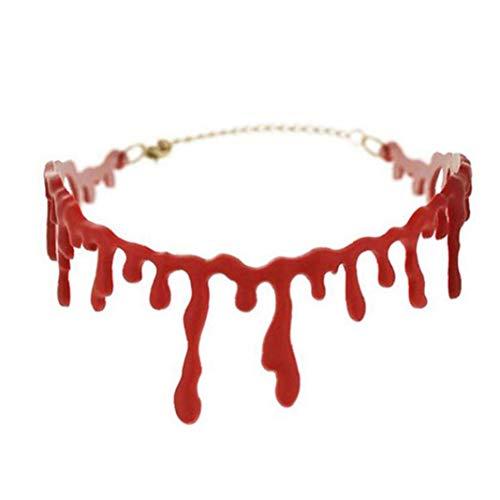 Zonfer 1pc Halloween Horror Blood Drip-Halskette Art Und Weise Kurz Kurzschluss Dekoration Choke Kostüme Vampir Blutige Halsketten-Partei-bevorzugung Red