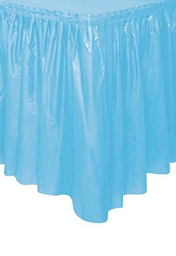 Unique Party- Falda de mesa de plástico, Color azul claro, 420 cm (50403)