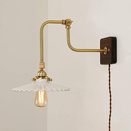 Aplique de pared, luces de pared LED vintage de latón con interruptor y enchufe, lámpara de pared retro para interiores con ángulo de haz ajustable, lámpara de cabecera de pared Nostalgia, base de ma