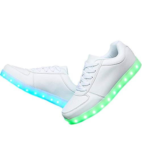 [M0N0liTH] LED 光る スニーカー シューズ 靴 7色+4パターン 発光 USB充電 メンズ レディース (22.5 cm/ホワイト)