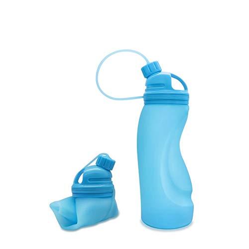 Strandzelt Faltbare Wasserflasche Silikon Sport außerhalb tragbare leichte auslaufsichere Sportwasserflasche (2er Pack) Camping Zelt (Color : Blue)