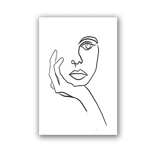 Swarouskll Der Denker Druck Picasso Strichzeichnung Poster Minimalistische Gesichtskunst Skizze Schwarz Weiß Home Wandkunst Dekor Leinwand Malerei-20X28 In No Frame
