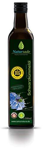Naturzade - Huile de Nigelle 500 ml - Alimentaire & Cosmétique - Cumin Noir - Pure Qualité Supérieure - Flacon en Verre - Pressé à Froid