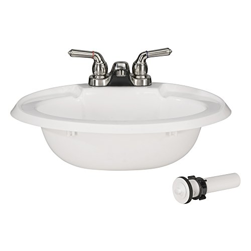 RecPro Oval RV Bathroom Sink w/Drain Stopper and Brushed Nickel Teapot Faucet   White   Single Bowl Lavatory Sink   Camper Sink   20x17   Plastic