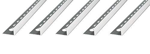 25 METER – Höhe: 10mm PREMIUM FUCHS Fliesenschiene Winkelprofil Aluminium Eloxiert silber matt – 1mm Stärke – 250cm Schiene