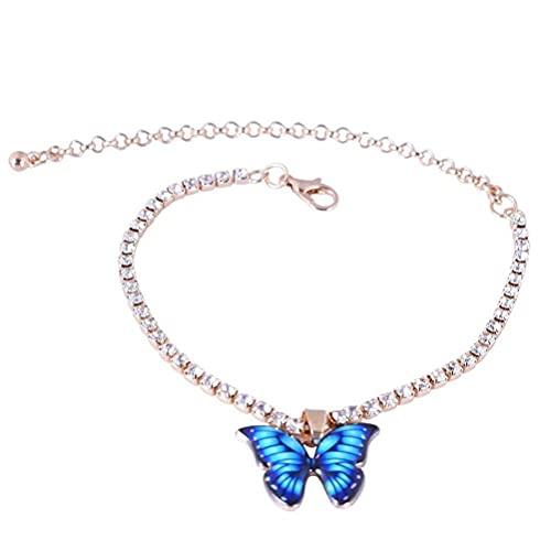 BTOSEP Tobilleras para Mujer, Anklet de Mariposa, Rhinestone Butterfly Anklet para Mujer Playa de Verano Ajustable Pulsera de Tobillera, Joyas de Tobillo para Adolescentes Mujeres