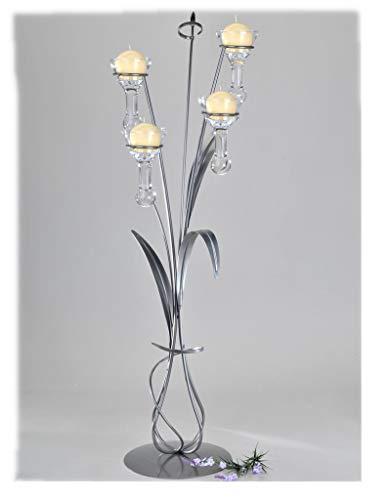 formano Bodenleuchter, Kerzenhalter Vivaldi mit 4 Gläsern H. 95cm aus Metall