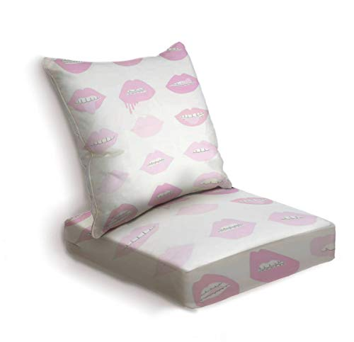 ONENPENRI 2-Piece Outdoor Deep Seat Cushion Set Pink and Blush Lipstick Lips Back Seat Lounge Chair Conversation Cushion for Patio Furniture Replacement Seating Cushion