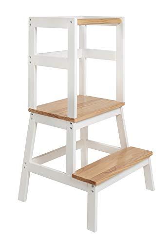 BOMI® Babystuhl aus Holz für Kinder ab dem Stehalter | Hocker zweistufig extra hoch | Trittschemel, Tritthocker für Mädchen und Jungen | Schemel mit 2 Stufen für Küche und Kinderzimmer