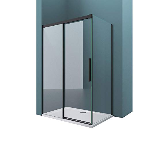 Mai & Mai Mampara de ducha esquinera negra con puerta corredera 80x150x195cm vidrio de seguridad transparente con cierre suave, montaje: entrada lado derecha e izquierda RAV12