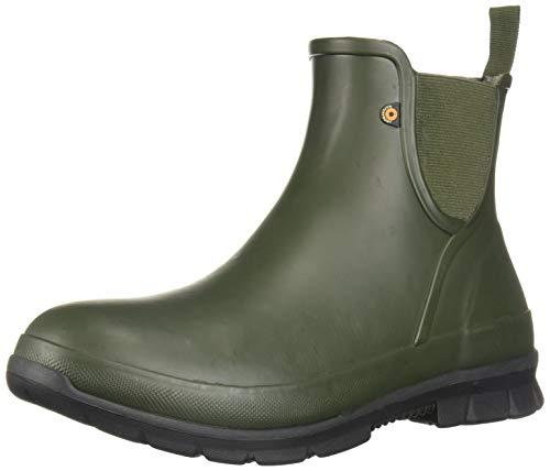 BOGS Women's Amanda Slip On Waterproof Rain Boot, Dark Green, 7