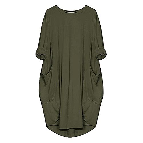 N\P Vestidos de verano Casual vestido de longitud media más el tamaño de las mujeres de bolsillo, 24, 4X-Large
