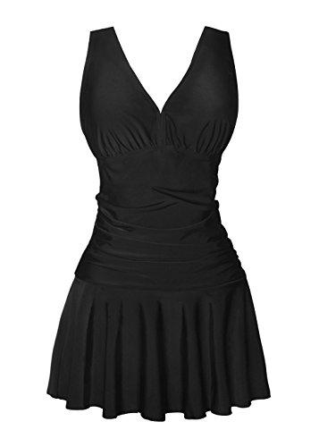 COCOPEAR Womens shaping body One Piece Swim dress, Medium / 10-12, Black