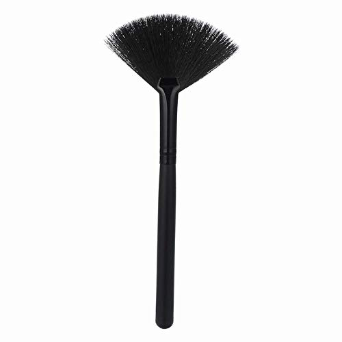 Single Small Fan-Shaped Cosmetic Brush Paraplu-vorm Overtollig Whitewash Disperse Whitewash Zwart Hout Handvat Bicolor Fibre Hair B