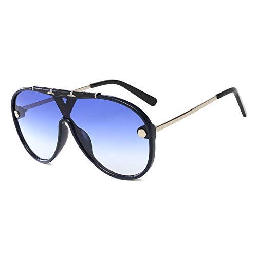N/A Gafas de Sol de Gran tamaño de, Gafas de Sol de conducción de Marca Vintage, Gafas de Sol de Montura Grande Planas para Hombres y Mujeres, Gafas Retro Siameses UV400 Regalo de cumpleaños
