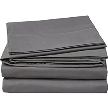 Chenille Linen Collections 600 Thread Count 100% Egyptian Cotton Ultra Soft 4 piece Sheet Set 15  Deep Pocket Premium Quality Bedding Set Queen Size Elephant Grey Color