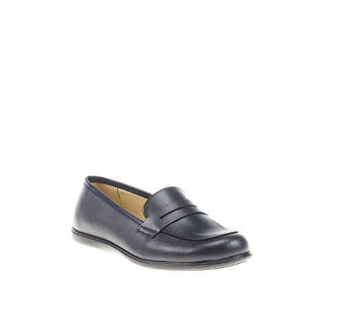Mocasines para niñas Fabricado en Piel. Zapatos Colegiales cómodos y con Detalle de Antifaz - Mi Pequeña Modelo MP466 Color Azul Marino.