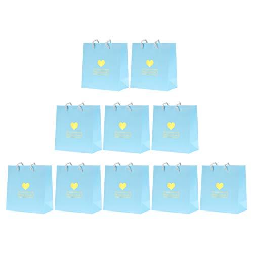 TOPBATHY El Bolso de Papel con Patrón de Corazón de 10 Piezas de Bolsas de Regalo de Paty Presenta Una Bolsa Ideal para Comprar Embalajes Artesanales para Bodas (Tamaño S Azul Cielo)