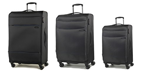 Rock Deluxe-Lite Set of 3 Super Lightweight 8 Wheel Spinner Luggage Black
