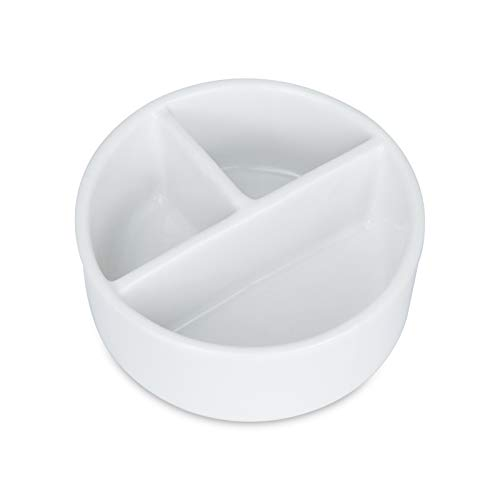 Creproly Round Porcelain Palette 3 Well White Paint Palette Mixing Tray Brush Wash Bowl Deep Watercolor Painting Dish