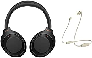 Sony WH-1000XM4 Wireless Noise Cancelling Bluetooth Over-Ear Headphones With Speak to Chat Function and Mic For Phone Call, Black and WI-C310 Wireless in-Ear Headset