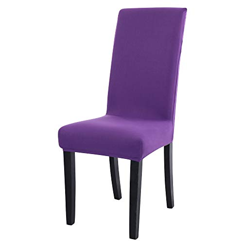 Sourcingmap Dining Chair Covers,Stretch Bar Stool Slipcover Kitchen Chair Protector Spandex Short Chair Seat Cover for Home Decorative/Dining Room/Party/Wedding Purple