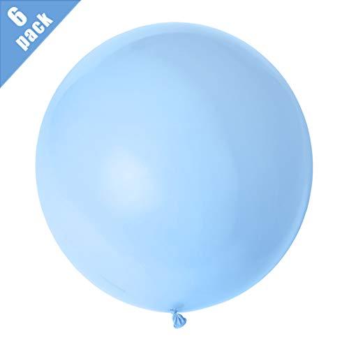 Globos Gigantes Azul, Globos Grandes 90 cm de Látex, Gigante Globos de Azul para Fiestas de Colores para Cumpleaños y bodas Ceremonia del carnaval de Navidad, Paquete de 6