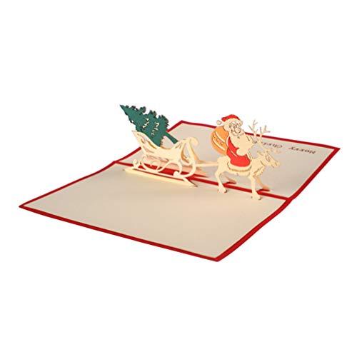 Toddmomy Noël 3D Carte de Voeux Papier Père Noël Pops up Carte avec Enveloppes pour Les Vacances Fête Invitation Festival Bénédiction Accessoires (Rouge)