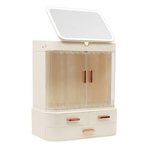 RAKUコスメ収納ボックスメイク収納ボックス化粧品収納ボックス大容量LEDライト鏡付き360度回転化粧品収納防塵防水引き出し小物入れ化粧品入れリップ収納ジュエリー収納アクセサリー収納卓上シンプルおしゃれ機能的アイボリーホワイト(展示ライト付き)(展示ライトなし)(展示ライト付き)