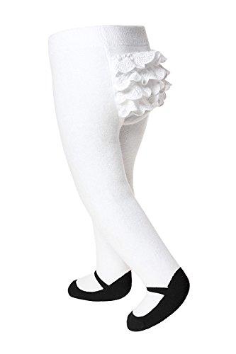 Baby Emporio Calzamaglia neonata con look scarpa stile Mary Jane - antiscivolo - in morbido cotone (Nero-Volant, 0-6 Mesi)